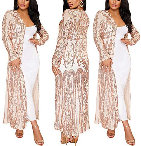 PROMLINK Sequin Cardigans Duster for Women Kimono Sparkly Sweater Coat,Champagne