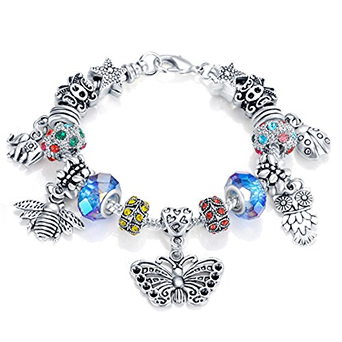 Bracelet Animal Charm - VPKJewelry Women Girls Murano and Austrian Crystal Charm Bracelet Bead Chain Animals Silver tone