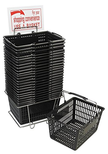 Black Shopping Basket Set (24 Baskets with Stand & Sign)