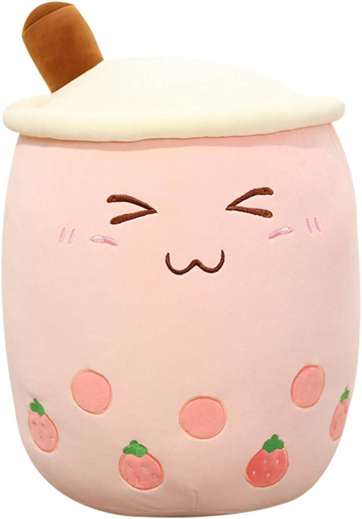 AIXINI 9.4inch Pink Bubble Tea Plush Pillow Stuffed Cartoon Cylindrical Body Pillow Cup Shaped Pillow,Super Soft Hugging Cushion Realistic Lifelike Back Plush Food