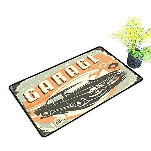(Interesting Doormat Man Cave Decor Promotional Retro Design Auto Mechanic Car Service Concept Nostalgic Vehicle W35 xL59 Easy to Clean Carpet Multicolor)