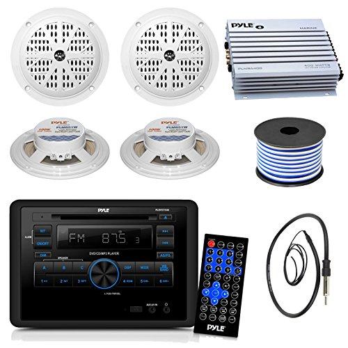 Pyle PLRVST300 RV Wall Mount Bluetooth CD/DVD Receiver Bundle Combo With 4x White 5-1/4'' Inch Dual Cone Waterproof Stereo Speaker + Enrock Radio Antenna + 400 Watt Amplifier +18G 50-FT Wire