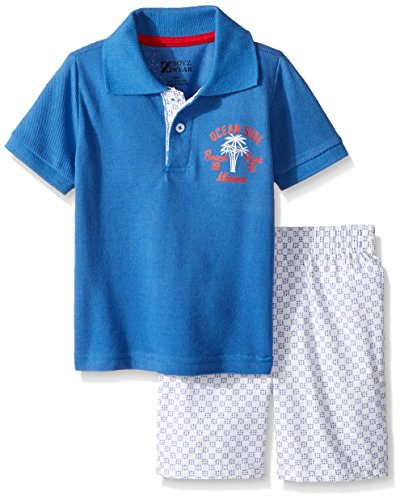 Nannette Baby Boys 2 Piece Printed Woven Short and Polo Shirt Set