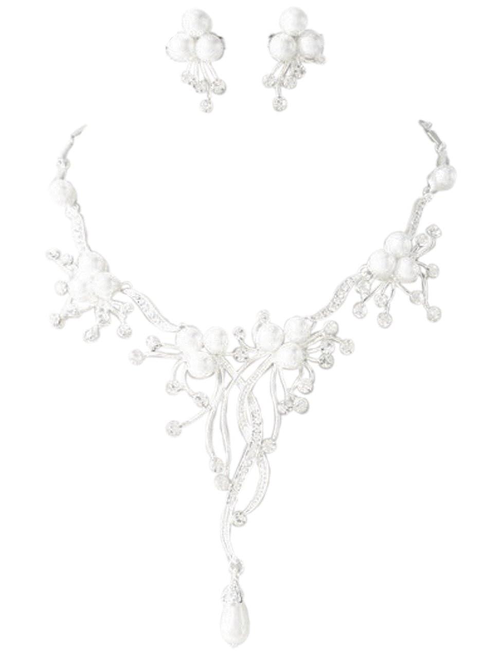 Schmuckanthony Best Seller Glamour Brautschmuck Schmuckset Set Kette Ohrringe versilbert Perlen Weiß und Kristall klar Transparent 4158NS