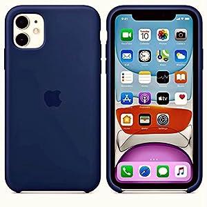 Meraki Vine Soft Liquid Silicone with Logo Slim Matte Back Cover Case for iPhone 11 | Navy Blue