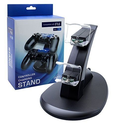 PS4 Controller Charger Charging Station, U-Tote Dual USB Charging Station for Sony PlayStation 4 PS4 Controller and PS4 Pro/PS4 Slim Controller---Black