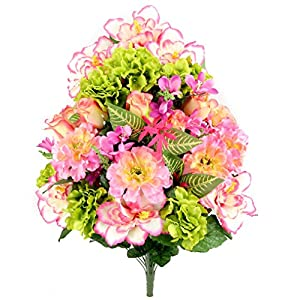 OKSLO Admired By Nature 36 Stems Artificial Hibiscus with Rosebud, Freesias & Fillers 118