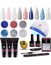 Makartt P-09 Nail Extension Gel Nail Starter Kit with 6pcs Beautiful Glitter Powders, 3pcs Builder Gel, 24w Quick Nail Dryer Nail Technician All-In-One Gorgeous Mixed Nail Art Gel Builder