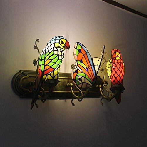 European Metal Parrot Corridor Wall Light Tiffany splicing Glass Bird Stand Bedroom Bedsides Wall Sconce Balcony Hallway Porch Wall Lighting Fixtures (3 Heads-B) (Tiffany Porch)