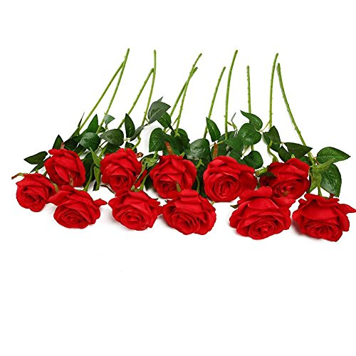 JUSTOYOU 10pcs Artificial Rose Silk Flower Blossom Bridal Bouquet for Home Wedding -