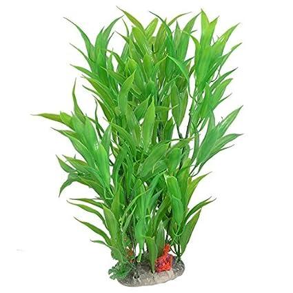 eDealMax Planta de agua plástico acuario Ornamental, DE 11 pulgadas, Verde