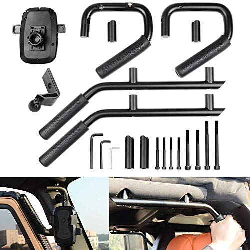 AUTOSAVER88 Front & Rear Grab Handles Roll Bar Grip Handles with Phone Holder Compatible for Jeep Wrangler JK JKU Unlimited Sports Bubicon Sahara 2007-2018 4 Doors(Black) ()