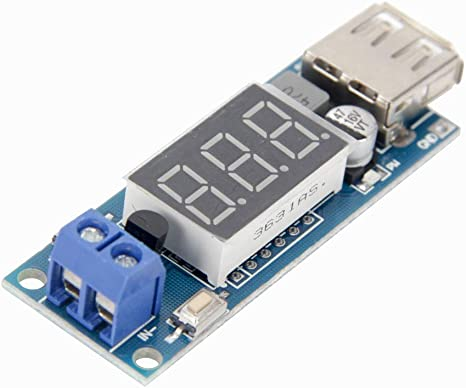 Dual USB 12V To 5V Step-down Module Battery Indicator Battery Voltage Display Me