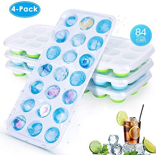 CAVN Silikon Eiswürfelform [4-Stück], 84-Fach Eiswuerfel Form Mit Deckel & Clip Ice Tray Ice Cube, BPA-frei, Eiswuerfelbehaelter Eiswürfelschale für babynahrung, Party und Bars