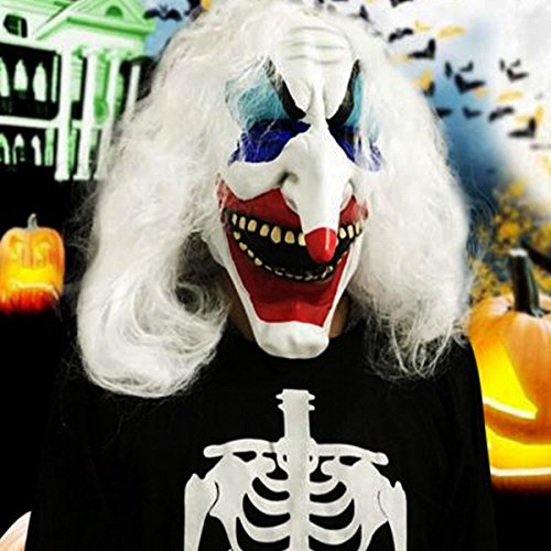 SICA White Hair Clown Halloween Latex Mask Face Fancy Costume Party Creepy Dress Prop (Cute Clown Costumes For Tweens)