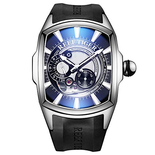 Reef Tiger Luminous Steel Huge Big Sport Watch for Men Analog Japan Automatic Watches Rubber Strap RGA3069S