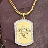 Dog Tag Medusa Pendant Chain Set 18K Gold Necklace Lab Diamond Charm Men Hip Hop