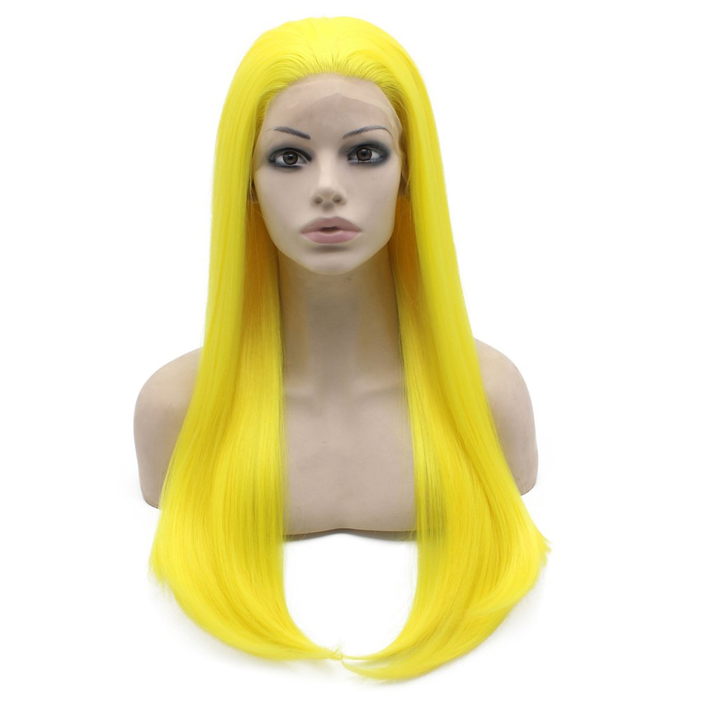 Iwona 61 cm Long straight giallo synthetic Lace Front WIG Heat Resistant Fiber Hair costume party WIG