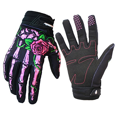 RIGWARL Skeleton Bones Full-Finger Motocross Gloves for Biking Cycling Motorcycle Climbing Hiking (Pink, Small) -