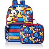 Disney Boys' Mickey Backpack with Lunch Window Pocket, Blue