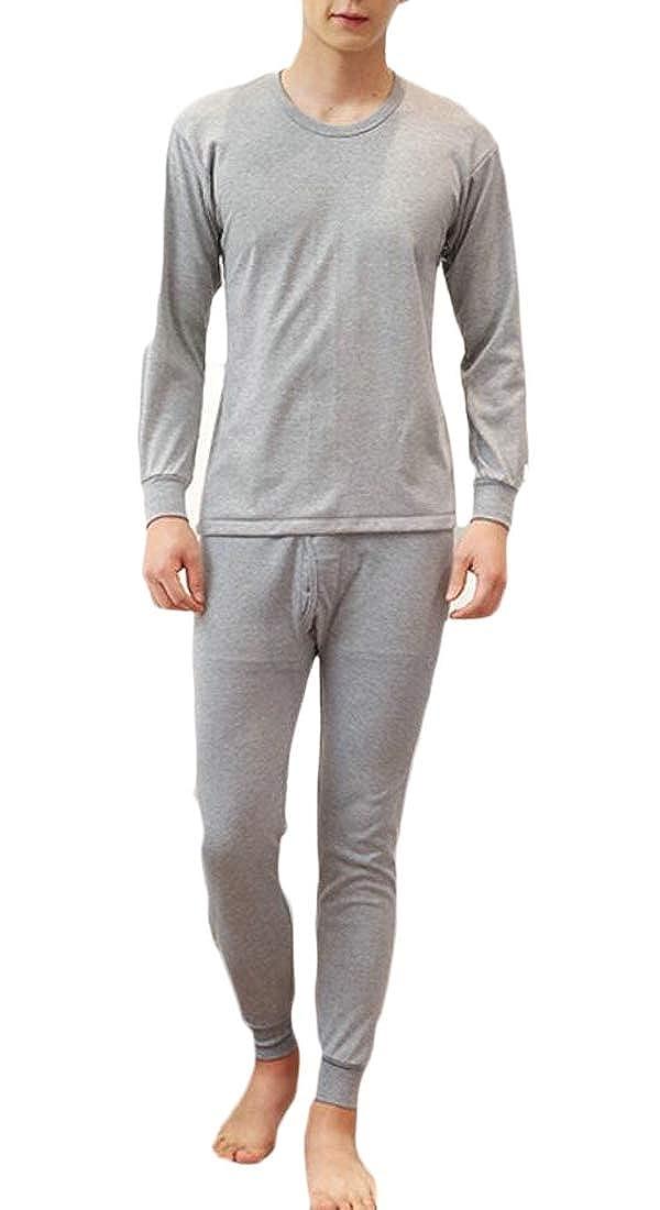GenericMen Thermal Underwear Cotton Base Layer Top and Bottom Long John Set