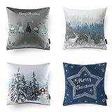 Decorative Pillow Cover - Phantoscope Decorative New Merry Christmas Series Velvet Style Frozen SeriesThrow Pillow Cushion Cover 18 x 18 (Christmas Blue)
