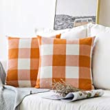 MIULEE Pack of 2 Decorative Classic Retro Checkers Plaids Throw Pillow Covers Cotton Linen Soft Soild Pillow Case Orange Cushion Case for Sofa Bedroom Car 18 x 18 Inch 45 x 45 cm