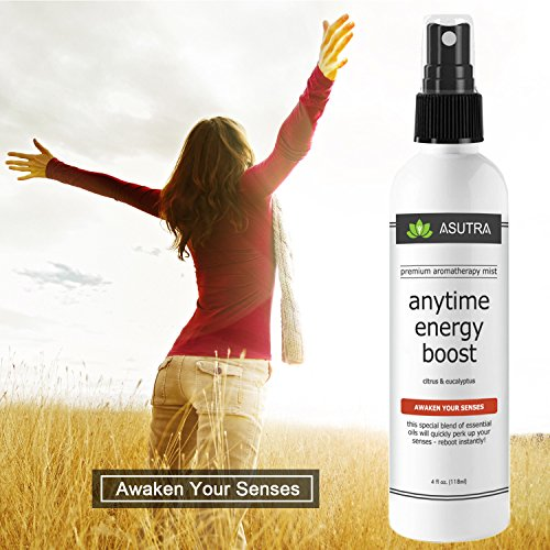"ASUTRA Premium Aromatherapy Mist -""ANYTIME ENERGY BOOST"" - Awaken Your Senses - 100% ALL NATURAL & ORGANIC Room & Body Mist, Essential Oil Blend - Citrus & Eucalyptus - 100% GUARANTEED"