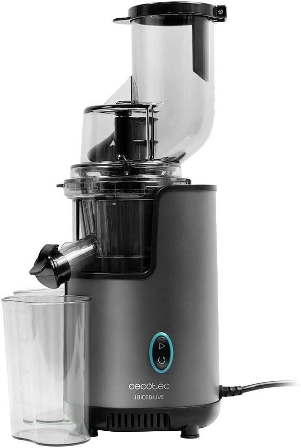 Cecotec Licuadora Frutas y Verduras prensado frío Juice&Live 2500 EasyClean. Potencia 200 W, Filtro fácil Limpieza, Canal XL