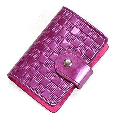 Damen Lady Lackleder Kreditkartekasten Halter Beutel Taschen Geldbörse Purpur