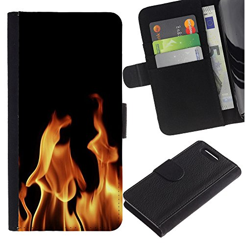 ful Pattern Flip Wallet Leather Holster Holster Protective Skin Case Cover For Sony Xperia Z3 Compact / Z3 Mini (Not Z3) [Fire Hell Flames Devil Burning Wallpaper] ()