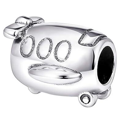 8fa14cd58 vraiment souhaitée Bijoux. Avion Charm perle, véritable argent sterling  925. Compatible avec Pandora