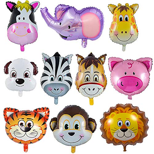 LAKIND Zoo Animal Balloons - 10 Pieces Jungle Safari Animals Balloons for Animal Theme Birthday Party Decorations Kids Gift Birthday Party -