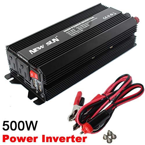 NEW SUN 500W/1000W Peak Power Inverter DC 12V to AC 110V Car Converter 60Hz Dual USB-Outlets 3.1A 5V Portable Battery Charger Converter