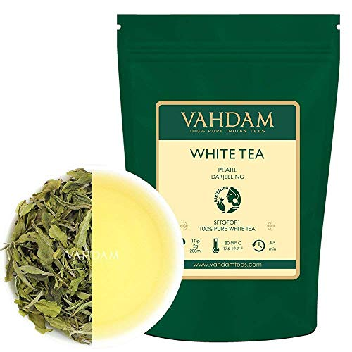 Imperial White Tea Leaves from Himalayas | 100% Pure Unblended White Tea Loose Leaf | World's Healthiest Tea Type | RICH IN ANTIOXIDANTS - 100% Natural Detox Tea, Slimming Tea, 1.76oz (25 Cups)