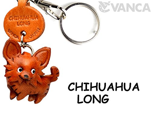 Chihuahua Long hair Leather Dog Small Keychain VANCA CRAFT-Collectible Keyring Charm Pendant Made in Japan ()