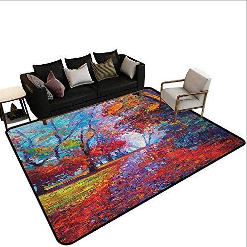 Swimming Pool Anti-Skid Carpet Country,Colorful Fairy Paint of Park in Fall Arts View of The Earth and Trees in The Nature Art, Multi (Deck Falls Prom)