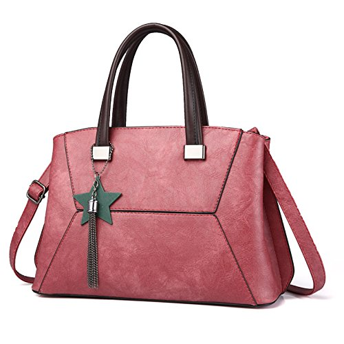 Mefly Pu Bolsa Bolsa de hombro pegado se puede Diagonal a la Sra. Rosa de goma Rubber Pink