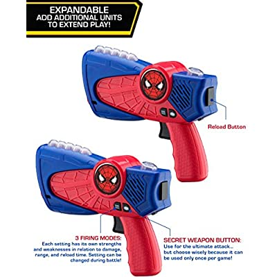 eKids Spiderman Laser-Tag for Kids Infared Lazer-Tag Blasters Lights Up & Vibrates When Hit: Toys & Games