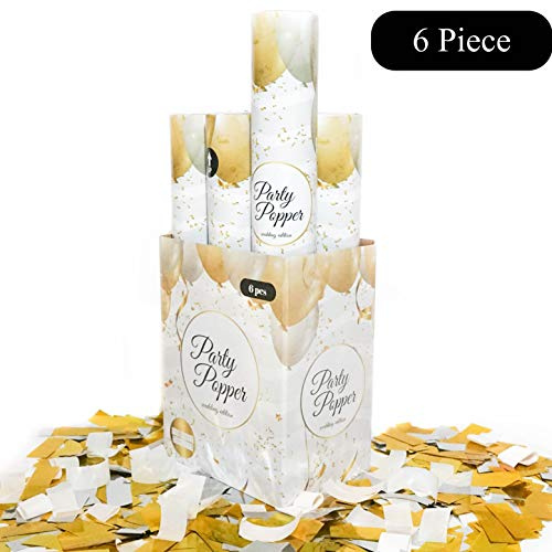 6 Piece Confetti Wedding Popper (12 in) in Decorated Gift Box -TUR Party Supplies Authentic Party Confetti Popper for Parties, Weddings, and More! Safe and Fun for Family and Friends
