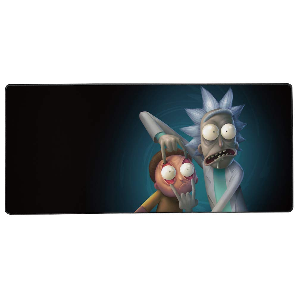 Extended Mouse Pad for Gaming and Ofiice, 35.4 × 15.7 inch Stiched Edge and Non-sliped Large Desk Pads with Smooth Surface -Rick and Morty XL Keybord and Mouse pad