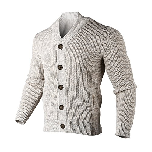 Bemorewithless Men's Shawl Collar Ribbed Button-up Cardigan - Button Sweater Cuff Cotton
