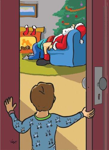 Mommy Kissing Santa Claus Christmas Card