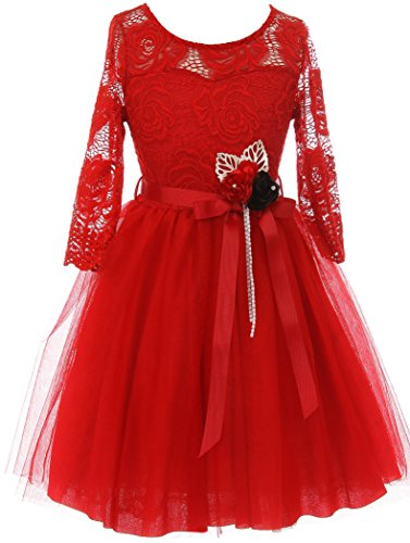 Long Sleeve Girls Dress Floral Lace Roses Corsage Christmas Flower Girl Dress