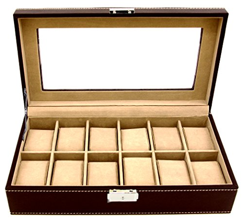Clevr Watch Box Large 12 Mens Chocolate Hinge Leather Display Glass Jewelry Organizer (Chocolate Leather Bicast)