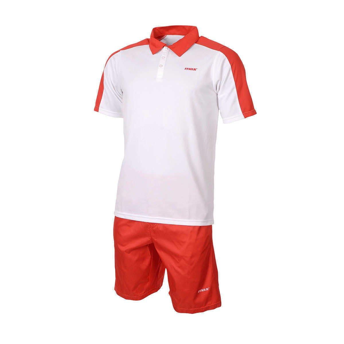 Max Completo Tennis Wimbledon Bianco Rosso SPORT ALLENAMENTO MANICA CORTA
