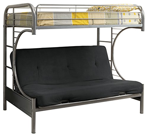 Furniture of America Metal Twin Over Futon Bunk Bed, Twin, Silver