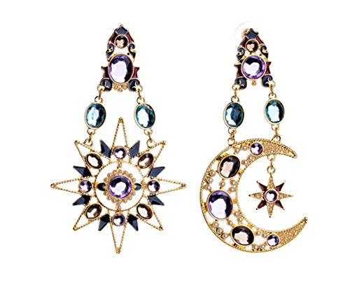(P.Phoebus 18K Yellow Gold Plated Earrings Purple Moon Star Vintage Swarovski Crystal Studs Rhinestones Dangle Charms Hoops for Women Girls)