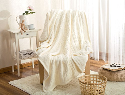 LakeMono Eco-friendly Crochet Blanket Super Soft Warm Knitted Throw Cover bed quilt Rug for Living Room/Car/Bedroom /Sofa/Bed /Couch /Office Adult and Kids Resting Relaxing (47×70 Inches, White)