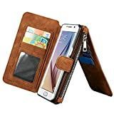 Luxury Leather Wallet Case for Samsung Galaxy Note 5,Generic Multi-function 2 in 1 Detachable Zipper Design Magnetic Leather Folio Flip Wallet Stand Cover with Card Slots + Stylus Pen(Brown)